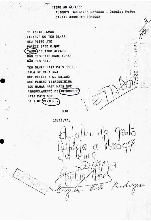 Letra censurada de música de Adoniran Barbosa na ditadura militar por motivos subjetivos. Com notas do censor.
