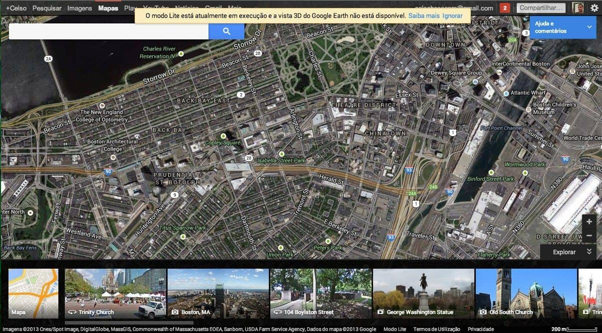 Novo Google Maps, modo satélite