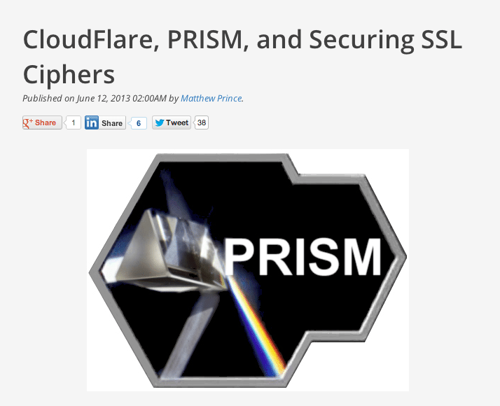 Cloudflare se manifesta sobre o programa PRISM