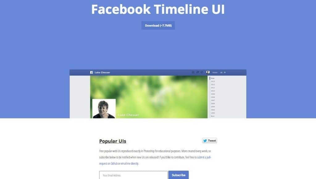 Facebook timeline featured on Popular UIs PSD project