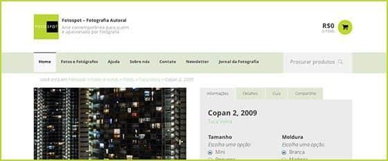 Página do novo site da Fotospot