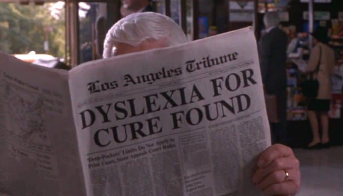 Jornal com a notícia dyslexia for cure found. (Dislexia para a cura encontrada.)