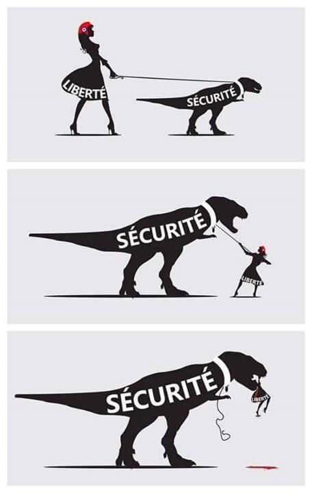 momento 1: mulher elegante representando liberdade leva dinossauro representando segurança em coleira. No segundo, o dinossauro, maior, empaca e mulher tem dificuldade de conduzí-lo. No 3.o dinossauro segurança, gigantesco, engole a liberdade.