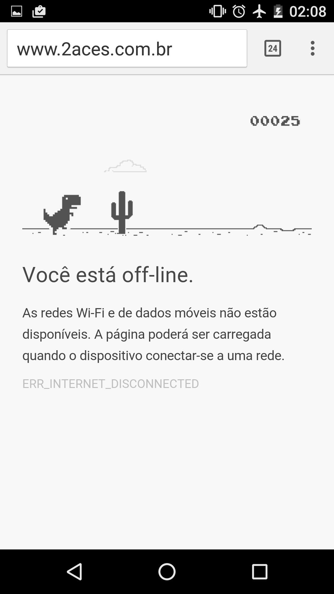 Easter Egg: jogo no Chrome, passo 3: clique em qualquer parte da tela para fazer o dinossauro saltar