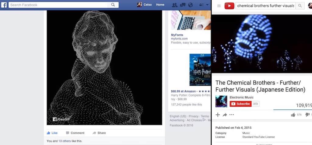 "Similaridade entre GIF ""pegadinha"" de Gestalt e vídeo da música Escape Velocity"