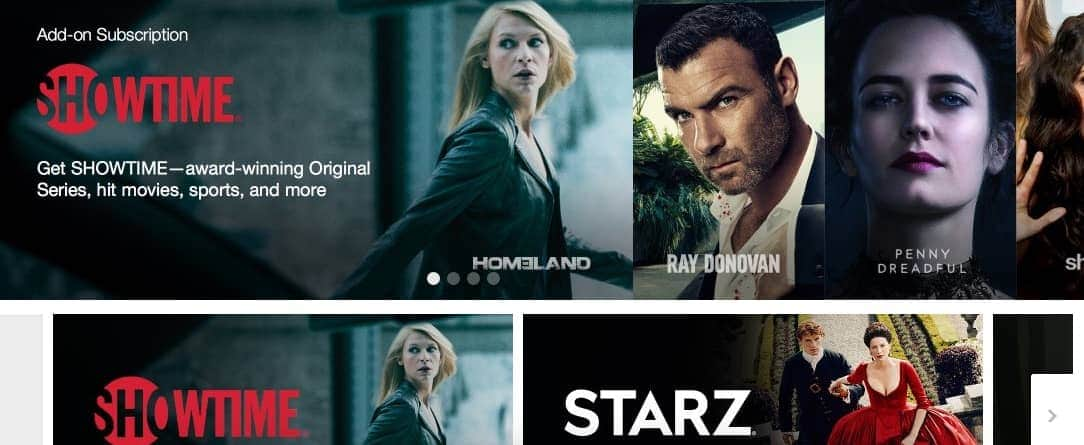 Cartazes de séries na página principal do site Amazon Prime