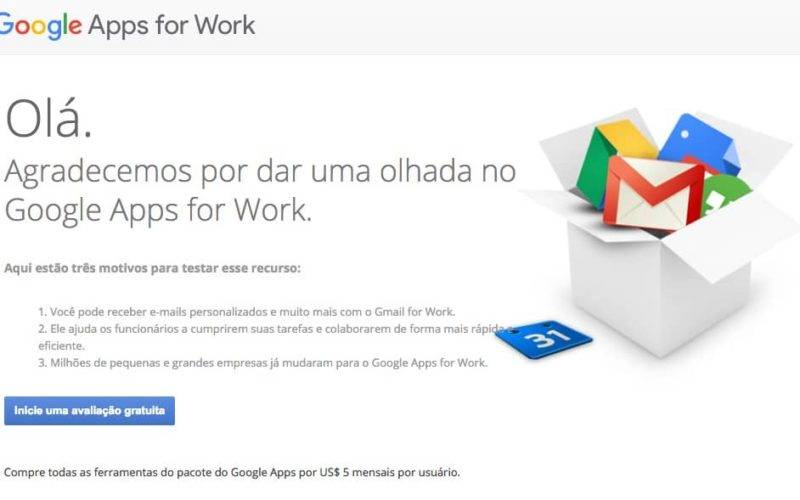 Tela do site Google Apps para Empresas