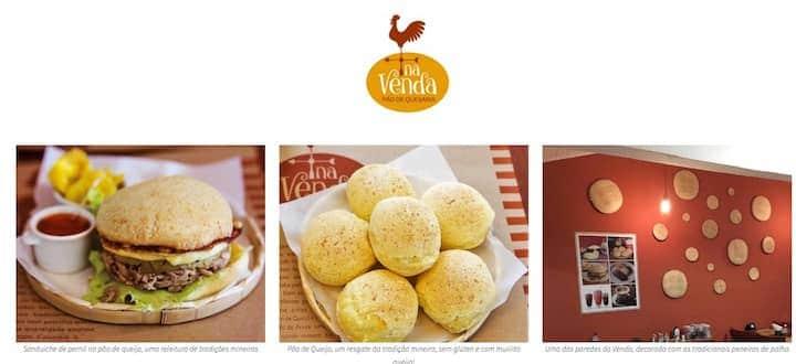 Sanduíche de pernil no pão de queijo, pães de queijo e ambiente do cafê Na Venda Pão de Queijaria