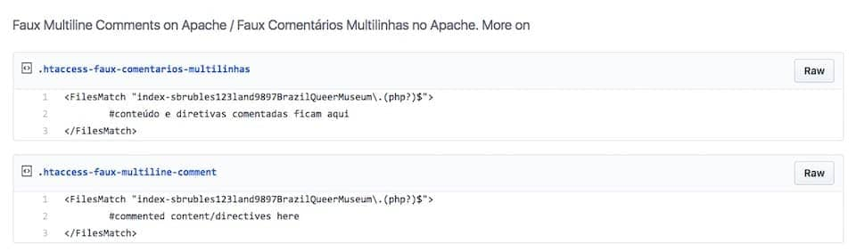 sample code for Faux Multine Comments on Apache .htaccess files