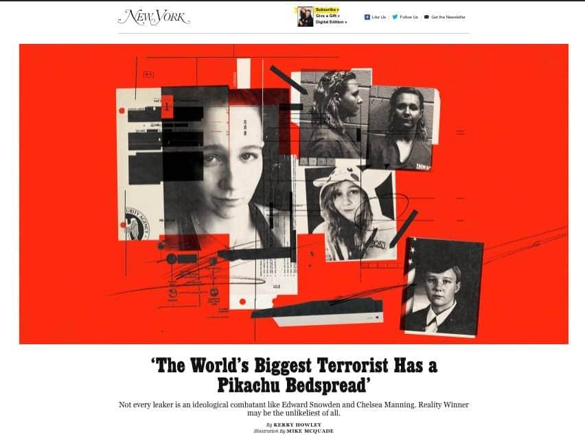site NY Mag com váris fotos de uma mulher (na prisão, na formatura, com roupa de dormir, e chamada Who is Reality Winner