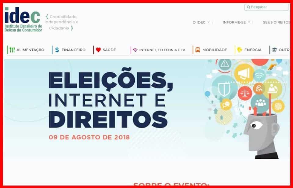 Site do IDEC com a chamada Eleições, Internet e Direitos e ilustração.